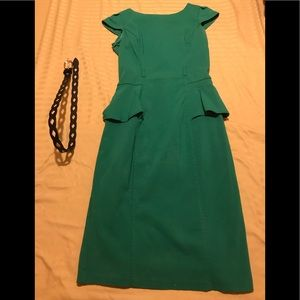 Kelly green peplum dress